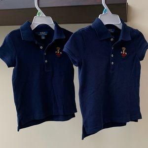2 Polo Ralph Lauren Girls Size 5 Navy Polos